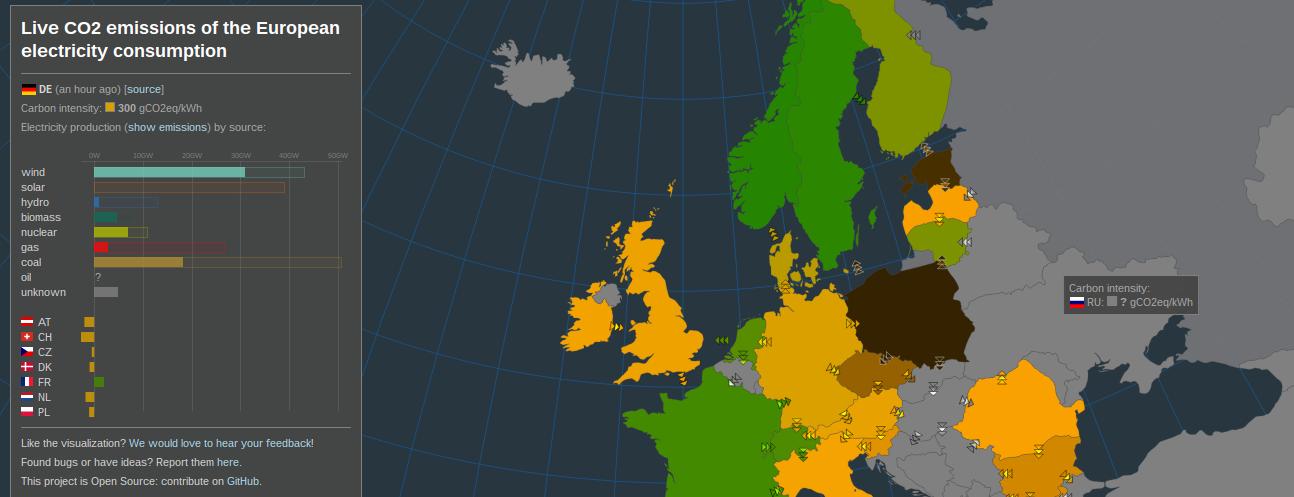 Screenshot der Electricity Map